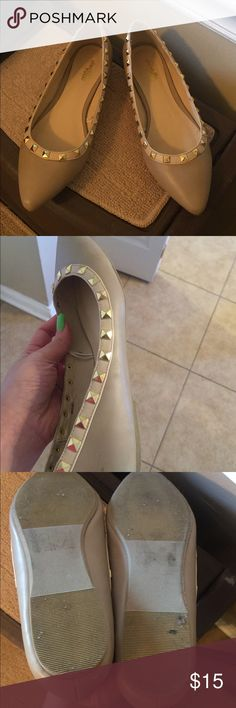 Charlotte Russe flats Beautiful flats however too small for me. These are a size 7. Beige color with golden studs. Some wear noted on pics: soles, a scuff on one shoe Charlotte Russe Shoes Flats & Loafers