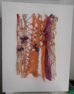 14-09-02 MChG  50cm x 65cm Dentelle aux fuseaux avec mes laines filées au rouet et des rubans de sari silk, perles.