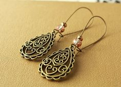 Antique brass filigree tear drop earrings by tortugasdesign, $7.95
