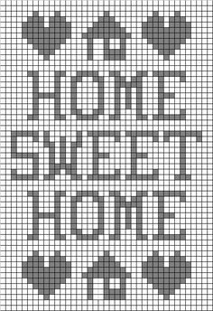 Free Filet Crochet Graph Patterns | Preview This Free Crochet Pattern: Home Sweet Home Filet: