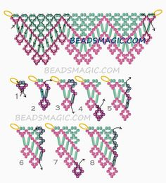 Free pattern for beaded necklace Alba U need: seed beads 11/0 bugles