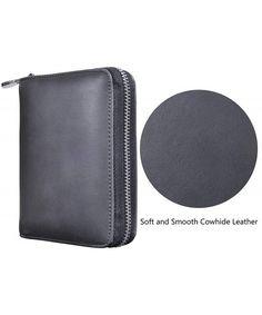 32502013e3849 Genuine Leather Credit Card Holder Case RFID Travel Passport Wallet - Black  - C518C585GMM