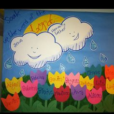 """April bulletin board. Rain drops have sayings like """"be nice to your friends, use your listening friends, etc"""""""