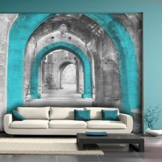 living room photo wallpaper / wall mural #wallpaper #wallmural #photowallpaper…