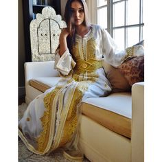 Cij Moroccan Modern White With Gold Embroidery Caftan... (480 CAD) ❤ liked on Polyvore featuring dresses, grey, women's clothing, long kaftan, white caftans, white kaftan, white two piece and long white kaftan