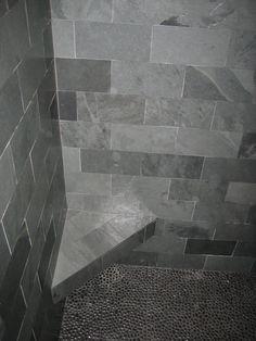 Gray slate and pebble shower
