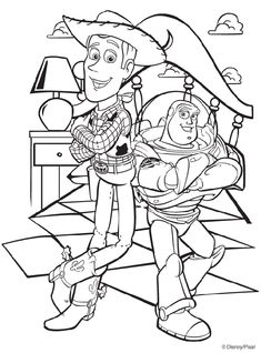 Disney Toy Story Woody and Buzz coloring page