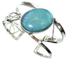 $81.25 Amazing! Modern Shimmering Labradorite Sterling Silver Bracelet / Cuff at www.SilverRushStyle.com #bracelet #handmade #jewelry #silver #labradorite
