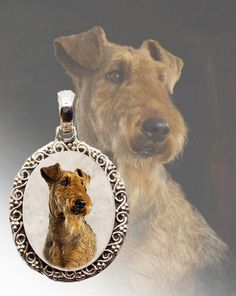 Airedale Terrier Necklace.  This is photo jewelry and I make them using your dogs photo so it is very special! #airedale #airedalelover #simplyitalydesigns #doglovers #doglovergifts #dogs #photojewelry #photokeepsake #keepsake #dogproducts #doggifts