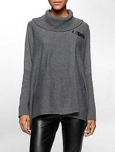 buckle closure sweater cape | Calvin Klein