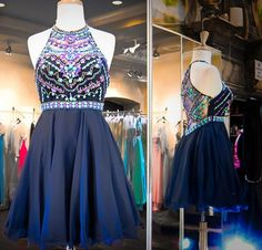 Halter Prom Dresses,Beaded Prom Dress,Modest Prom Gown,Short Homecoming