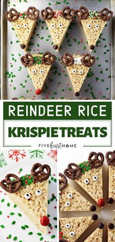The perfect Rice Krispie Christmas treats that kids can make! Reindeer Rice Krispie Treats are cute, festive, easy to make, and great to be shared with neighbors and friends. Save this holiday dessert for a crowd! for a crowd Reindeer Rice Krispie Treats Desserts For A Crowd, Holiday Baking, Christmas Desserts, Christmas Treats, Christmas Baking, Holiday Treats, Holiday Recipes, Christmas Recipes, Rice Crispy Treats Christmas