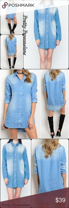 """NWT Distressed Washed Denim Blue Shirt Dress Tunic NWT Distressed Washed Denim Blue Shirt Dress Tunic  Available in S, M, L Measurements taken from a small  Length: 30"""" Bust: 36"""" Waist: 38""""  Cotton Blend   Features  • distressed washed fabric detail • button down front • long sleeves w/button tab to shorten length • soft, breathable material  • relaxed, easy fit  Bundle discounts available  No pp or trades  Item # 1/1011230390DSD shirt dress distressed washed long sleeves Pretty Persuasions…"""