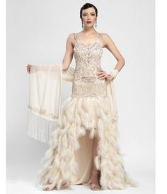 1920s formal dresses | 1920s Vintage Prom Dresses Feather gown, vintage prom