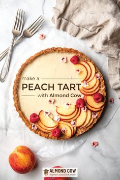 Make this delicious peach tart using leftover almond pulp. Peach Cheesecake, Cheesecake Tarts, Fancy Desserts, Sweet Desserts, Dessert Recipes, Foods With Gluten, Sans Gluten, Peach Tart Recipes, French Tart