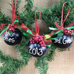 Chalkboard ornaments would be cute for teacher gifts. #beverlys #chalkboard #gift #diy #xmas