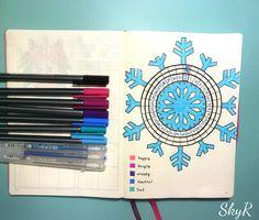 Bujo snowflake mood tracker, round mood tracker, bullet journal mood tracker