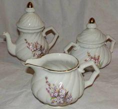 Przepiękny komplet porcelany cukiernica dzban mlecznik London Old England