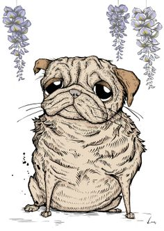 Don't you just love pugs!Every print is signed by me, the artist.It is available as a giclee fine art print and a digital print.The giclee option is printed on Hahnemuelle 320gm acid free archivable light fast fine art paper.The image is approximately 29.7 x 42 cm in size (A3). Every print is signed by me, the artist!All prints are shipped flat in rigid, stay-flat mailers and are protected in plastic sleeves. Frame is not included.