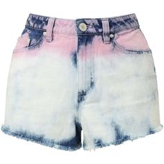 Miss Selfridge Pink Tie Dye Denim Shorts (16.320 HUF) ❤ liked on Polyvore featuring shorts, pink, pink cotton shorts, pink jean shorts, tie die shorts, cotton shorts and tie dye denim shorts