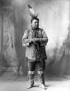 Yellow Smoke (aka Shu-De-Na-Ci) keeper of the sacred pole (called the Venerable Man) of the Omaha - Photo by Frank A. Rinehart, on the occasion of The Indian Congress occurred in conjunction with the Trans-Mississippi International Exposition of 1898, in Omaha, Nebraska, USA - (Photoshopped)