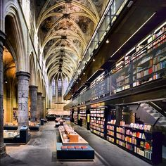 Selexyz Bookstore in Maastricht, The Netherlands. The bookstore is installed in an old Dominican church.