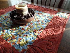 Fall Quilted Table Topper Leaves Table Topper Modern
