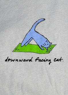 Downward Facing Cat - Ladies Yoga Tee   Lala Land Ink