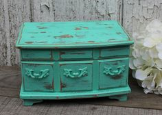 Vintage Upcycled Jewelry Box  Teal with Red by TheSpeckledEgg2011