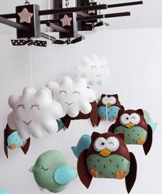 Friendly Owls and Birds Baby Mobile with Free di GiftsDefine