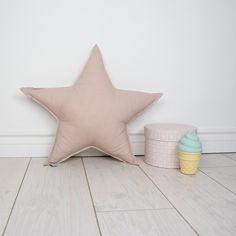 Pillow Cushion Softie Kids Girl Boy- Big star powder beige by MamaPotrafi on Etsy
