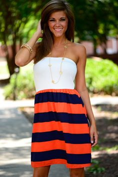The Kickoff Dress, Navy/Orange