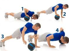 Ball Crossover Pushup #fitness #weightloss #training