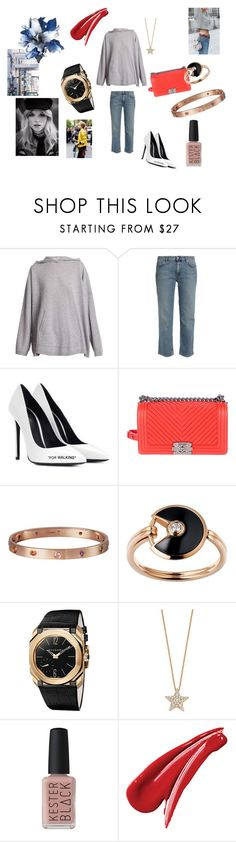"""""""Acne studios"""" by maria-chamourlidou ❤ liked on Polyvore featuring Acne Studios, Off-White, Chanel, Gabriella, Cartier, Bulgari, Bee Goddess and Kester Black"""