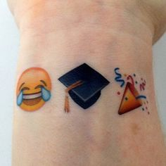 What does emoji tattoo mean? We have emoji tattoo ideas, designs, symbolism and we explain the meaning behind the tattoo. Custom Temporary Tattoos, Custom Tattoo, Family Tattoos, Sister Tattoos, Emoji Tattoo, Tattoo Ink, Emoji Set, Laughing Emoji, Funny Tattoos