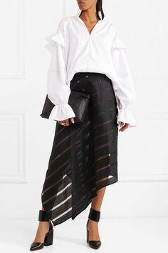 Sid Neigum | Striped slub wool and silk-blend midi skirt | NET-A-PORTER.COM