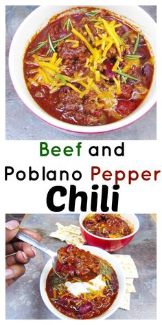 Beef and Roasted Poblano Pepper Chili is warm, hearty and packed with a lot of flavor and heat! Poblano Chili, Roasted Poblano Peppers, Stuffed Poblano Peppers, Chili Recipes, Soup Recipes, Dinner Recipes, Cooking Recipes, Pepper Recipes, Poblano Recipes