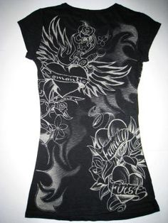 Romantic Heart Dagger Tattoo Graphic T-Shirt Black - Jrs. Sz Large New - Free Shipping