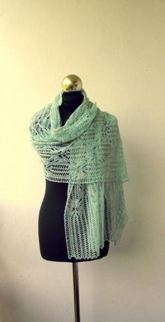 Water Green  hand knitted merino lace stole by DagnyKnit for $115.00