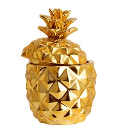 Candle in pineapple-shaped ceramic holder with lid. Unscented. Diameter 2 1/4 in., height 3 3/4 in. Burn time 15 hours.