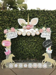Evelyn & Kayli unicorn garden birthday party picture frame.