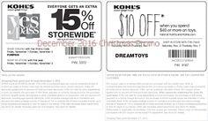 free Kohls coupons december 2016