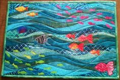 Ocean Waves Placemat by Benyapa Steinmetz at The Quilt Show Ocean Quilt, Beach Quilt, Fish Quilt, Quilted Placemat Patterns, Quilt Patterns, Quilt Placemats, Pdf Patterns, Design Patterns, Small Quilts
