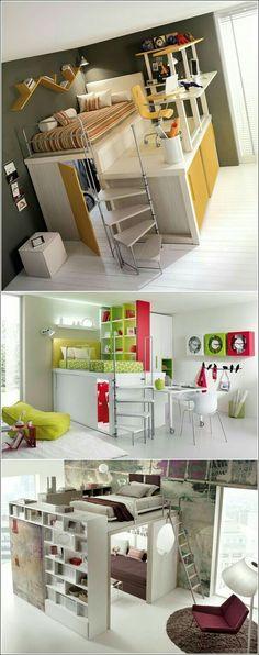 Ideas de camas puentes / loft para espacios reducidos. Habitaciones juveniles.