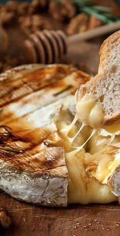 baked brie with rosemary, honey, and candied walnuts....