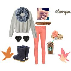 Grey over sized sweater with pink jeans and periwinkle infinity scarf and dark purple uggs Cute Winter Outfits, Cute Outfits, Purple Uggs, Dark Purple, Pink Jeans, Junior Outfits, Winter Day, Fashion Forward, Winter Fashion
