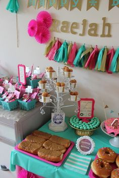 Donut, pink & gold Birthday Party! See more party ideas at CatchMyParty.com!
