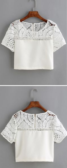 White Lace Crochet Crop T-Shirt  Only Need US$13.41
