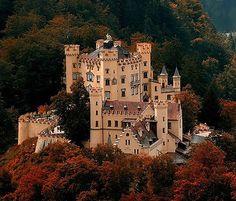 Schloss Hohenschwangau (Hohenschwangau Castle), Hohenschwangau, near the town of…