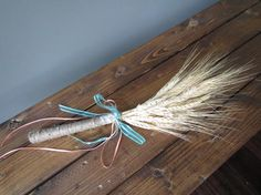 Dried wheat decorative bouquet - bundled with twine and ribbon. Wooden Art, Twine, Rustic Wedding, Vintage Items, Arrow Necklace, Restoration, Wedding Decorations, Bouquet, Ribbon